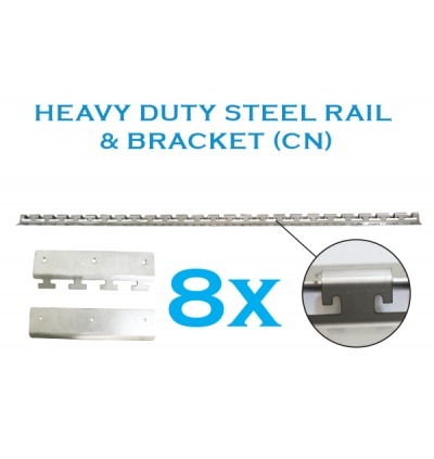 Standard Size 4' x 9' PVC Curtain with Heavy Duty CN Rail with 8 Hangers