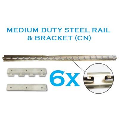 Standard Size 1m x 2.7m PVC Curtain with Medium Duty CN Rail with 6 Hangers