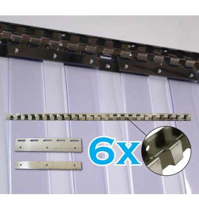 Standard Size 1m x 2.7m PVC Curtain with Medium Duty EU Rail with 6 Hangers